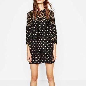 Zara Trafaluc Collection Black Polka Dot Dress-XS